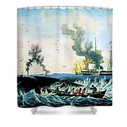 The Whale Fishery, 19th Century Shower Curtain