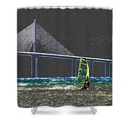 The Wind Surfer Shower Curtain by David Lee Thompson
