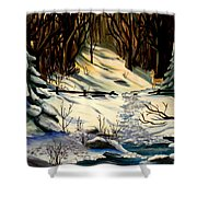The Winter Trail Shower Curtain