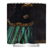The Woman In The Green Dress Shower Curtain