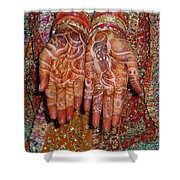The Wonderfully Decorated Hands And Clothes Of An Indian Bride Shower Curtain