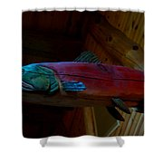 The Wooden Rainbow Trout Shower Curtain