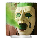 Theater Mask Spewing Green Smoke Shower Curtain