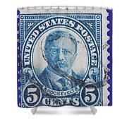 Theodore Roosevelt Postage Stamp Shower Curtain