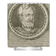 Theophrastus, Ancient Greek Polymath Shower Curtain by Science Source
