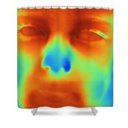 Thermogram Of A Boys Face Shower Curtain