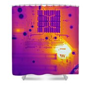 Thermogram Of A Computer Board Shower Curtain