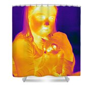 Thermogram Of A Girl And Cat Shower Curtain