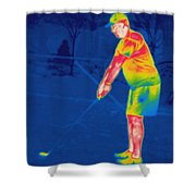 Thermogram Of A Golfer Shower Curtain