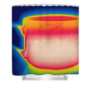Thermogram Of A Hot Coffee Cup Shower Curtain