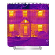 Thermogram Of A House In Winter Shower Curtain