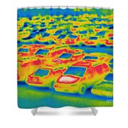 Thermogram Of A Parking Lot Shower Curtain
