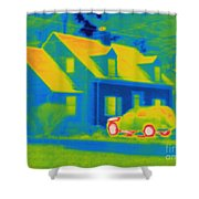 Thermogram Of Car In Front Of A House Shower Curtain