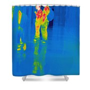 Thermogram Of Students At A Locker Shower Curtain