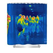 Thermogram Of Students In A Hallway Shower Curtain