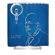 Thomas Edison Lightbulb Patent Artwork Shower Curtain