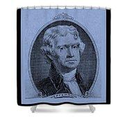 Thomas Jefferson In Cyan Shower Curtain