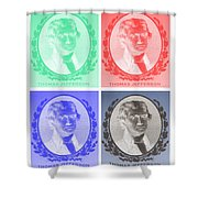 Thomas Jefferson In Negative Colors Shower Curtain