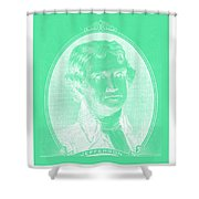 Thomas Jefferson In Negative Green Shower Curtain