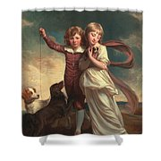 Thomas John Clavering And Catherine Mary Clavering Shower Curtain by George Romney