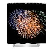 Three Bursts Of Fireworks Four July Two K Ten Shower Curtain