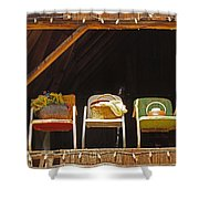 Three Chairs With A View Shower Curtain