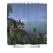 Three Estemmenosuchus Mirabilis Face Shower Curtain
