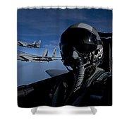Three F-15 Eagles Fly High Shower Curtain