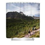 Three Hikers Walk On A Trail Shower Curtain