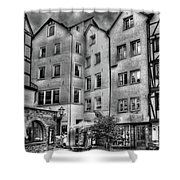 three homes in Black and White Shower Curtain