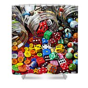 Three Jars Of Buttons Dice And Marbles Shower Curtain