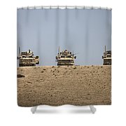 Three M-atvs Guard The Top Of The Wadi Shower Curtain
