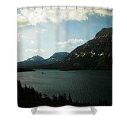 Three Mountains On Many Glacier Lake Shower Curtain