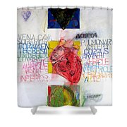 Three Of Hearts 32-52 Shower Curtain by Cliff Spohn