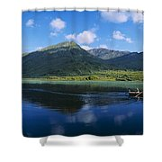 Three People On A Boat In The Lake Shower Curtain