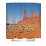 Three Sisters And Grazing Sheep Shower Curtain