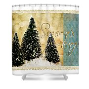 Three Trees Framed Shower Curtain
