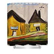 Three Yellow Houses With Picture Windows Shower Curtain