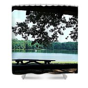 Through The Pavilion At Trap Pond State Park Delaware  Shower Curtain