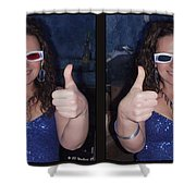 Thumbs Up - Gently Cross Your Eyes And Focus On The Middle Image Shower Curtain