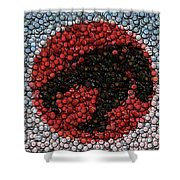 Thundercats Bottle Cap Mosaic Shower Curtain by Paul Van Scott
