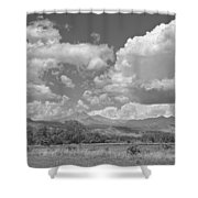 Thunderstorm Clouds Boiling Over The Colorado Rocky Mountains Bw Shower Curtain