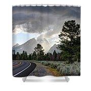 Thunderstorm On Grand Teton Road Shower Curtain