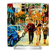 Thursdays Pub On Crescent Street Montreal City Scene Shower Curtain