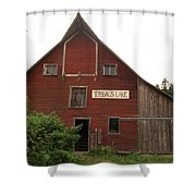 Tibbals Lake Red Barn Shower Curtain