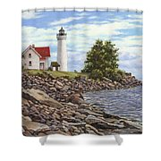 Tibbetts Point Lighthouse Shower Curtain by Richard De Wolfe