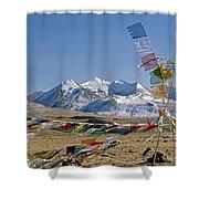 Tibetan Buddhist Prayer Flags Atop Pass Shower Curtain