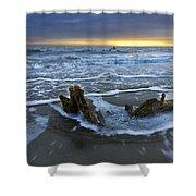 Tides At Driftwood Beach Shower Curtain