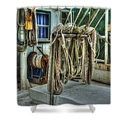 Tied Up Lines Shower Curtain by Michael Thomas