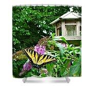Tiger Swallowtail By The Bird Feeder  Shower Curtain